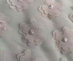 Beautiful Flowers Flying 100% Polyester Yoryu Chiffon Laser Cut Distributor