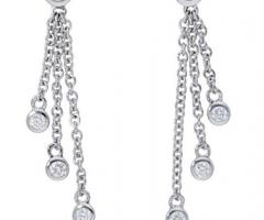 Deutsch Signature Bezel Diamond Drop Earrings for Women